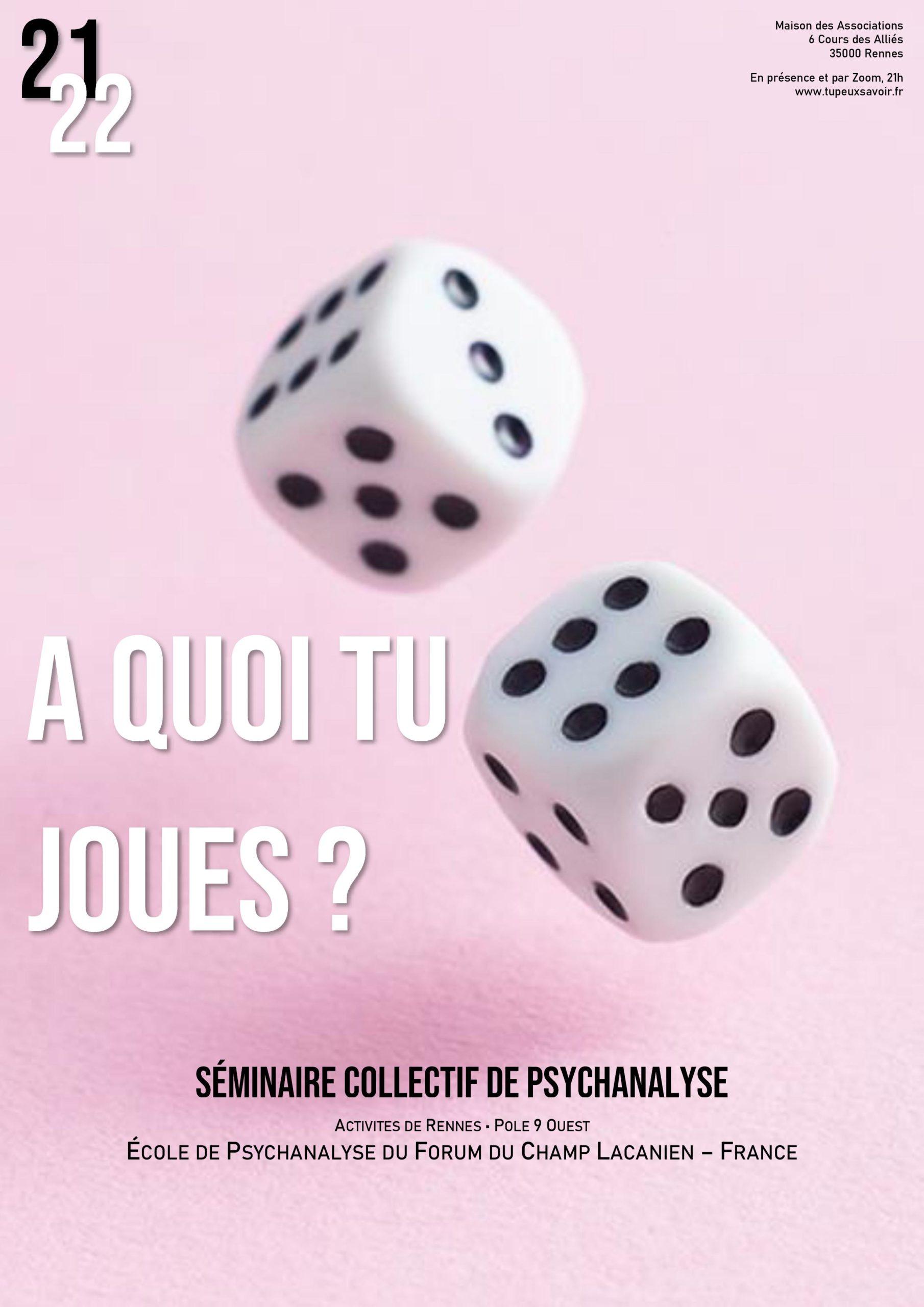 """Séminaire collectif de psychanalyse - """"A quoi tu joues ?"""""""